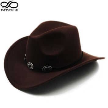 INFINITLOVE Wool Felt Western Cowboy Hat Wide Brim Cowgirl Retro Band  Sombrero For Adult / Kid (Choose Size:58cm/54cm)