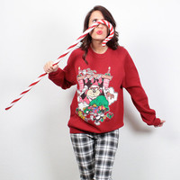 Vintage Looney Tunes Sweatshirt Cartoon Print Ugly Christmas Sweater Tacky Xmas Jumper Tasmanian Devil Holiday Pullover L XL Extra Large