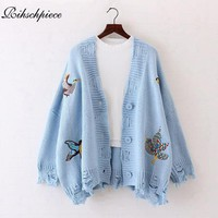 Rihschpiece 2017 Embroidery Cardigan Women Sweater Autumn Knitted Poncho Coat Oversize Cardigans Long Sleeve  Sweaters RZF1273