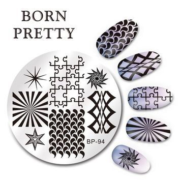 BORN PRETTY 5.5cm Round Nail Art Stamp Template Puzzle Geometry Figure Design Image Plate BP-94