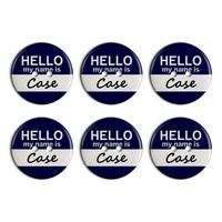 Case Hello My Name Is Plastic Resin Button Set of 6