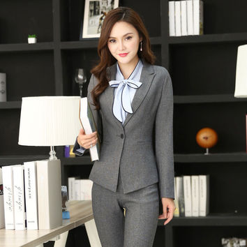 New Professional Long Sleeve Elegant Grey Blazers for Business Women Jackets Outwear Ladies Office Blazer Coat Outwear Uniforms