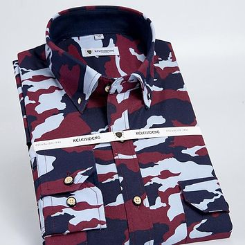 Men's Long Sleeve Camouflage Printing Work Shirt with Chest Flap Pockets&Epaulets 100% Cotton Casual Button Down Oxford Shirts