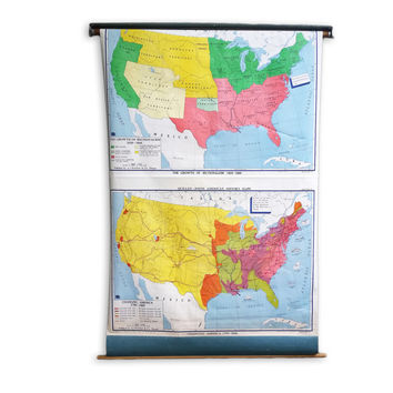 Vintage Historic American School Map, Pull Down Map; Large Industrial Wall Map of United States