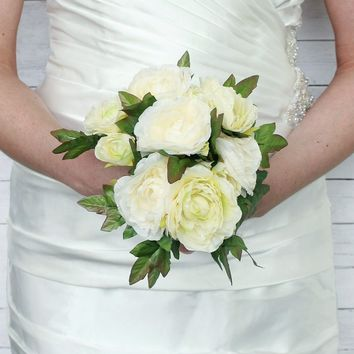 "Ranunculus Silk Wedding Bouquet in Cream Green - 6.5"" Tall - DIY Wedding"