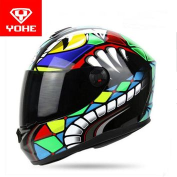2017 Summer New Knight protection YOHE Full Face motorcycle helmet YH966 motorbike helmets made of ABS PC visor size M L XL XXL