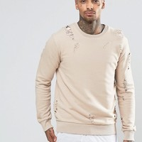 Criminal Damage Sweatshirt With Distressing at asos.com