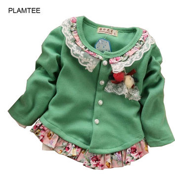 Children's Clothing Girls Fashion Solid Color Autumn Flowers Splicing Girl Cardigan Coat 4-Color Kids Girls Sweater 1-4 Age