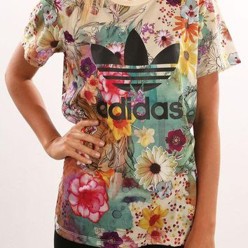 Adidas Women Fashion Floral Print T-Shirt