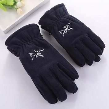 Arcteryx Winter Popular Woman Men Warm Knit Gloves Dark Blue