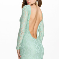 Cyan Floral Lace Backless Dress