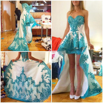 Turquoise Ivory High Low Short Prom Dresses Sweetheart Appliques Two Town Short Front Long Back Girls Prom Cocktail Dresses 2017