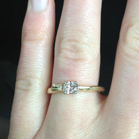 Champagne Diamond Engagement Ring  Faceted Oval Stone   by bmjnyc