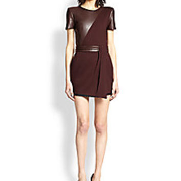 The Kooples - Leather-Paneled Crepe Dress - Saks Fifth Avenue Mobile