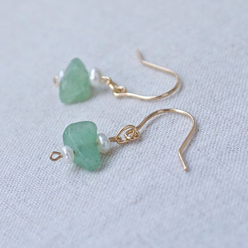 Tiny dangle earrings seed pearl green jade 14k gold fill Tiny delicate seed pearl Modern minimal Beach boho Contemporary Bridal jewelry