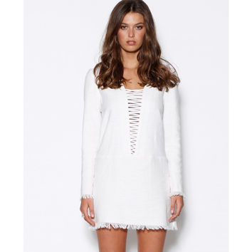 Lace Up Fray Mini Dress by Ministry of Style