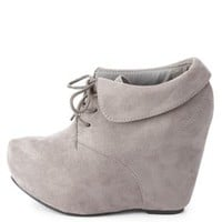 Cuffed Lace-Up Wedge Booties by Charlotte Russe - Gray