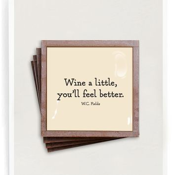 Wine A Little Copper & Glass Coasters, Set of 4