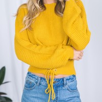 Yellow Lace-up Corset Front Rib Knit Sweater