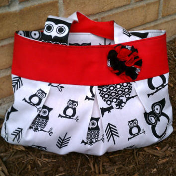 Red and Black Owl Bag Reversible by HandtowelsByOlivia on Etsy
