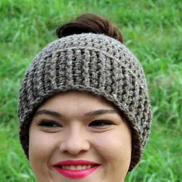 Messy Bun Hat, Winter Beanie, Brown, Ponytail Hat, Crochet