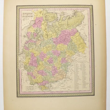1852 Mitchell Russia in Europe Map, Original Antique Map of Russia, Handcolored Map Russia Gift for Parents, Vintage Russia Map Ukraine