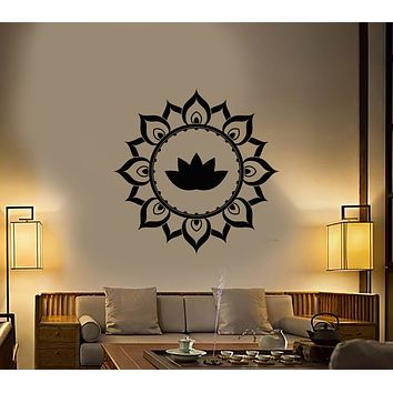 Vinyl Wall Decal Ornament Lotus Flower Meditation Room Stickers (3372ig)