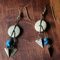 earrings dream catcher style with balsa wood disc by rocksntwigs