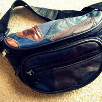 Vintage Leather Punk Patched Fanny pack