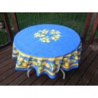 "Round Citron Lemons 71"" Dia Cotton Tablecloth on Blue * In Plain or Coated Cotton"