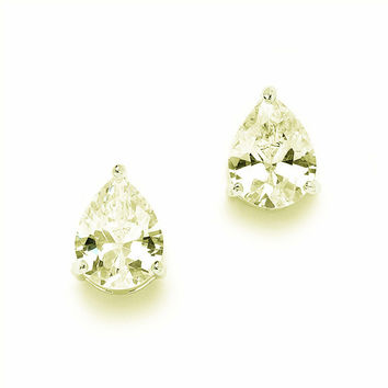 Canary Yellow 2CT Pear Cut Russian Lab Diamond Solitaire Stud Earrings