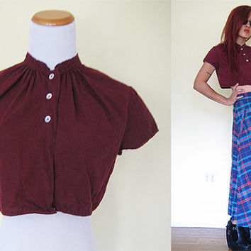 Vintage maroon red button down cropped top blouse short sleeves shirt jacket bolero eyelet