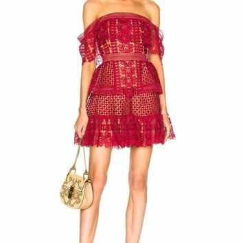 Dorothy Red Lace Off Shoulder Min Dress