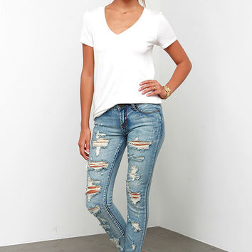 Arizona Distressed Medium Wash Ankle Skinny Jeans