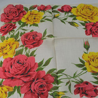 Vintage Handkerchief, Beautiful Yellow and Pink Roses  Hankie for Crafting, Sewing, Framing, Quilting,  Great Gift Idea, Quiting  D-26