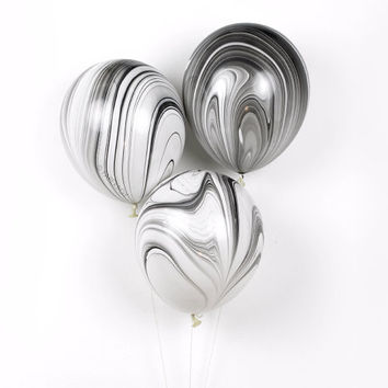 "Marble Balloons - Black and White - 11"" inch - 3 pack - Black White Gold and Silver - Latex Balloon - New Years Eve / 40th or 30th Birthday"