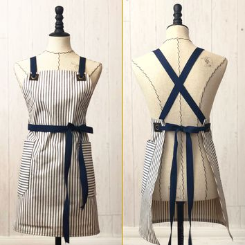 The Daily Grind No. 4- Ticking, Cross-back Apron