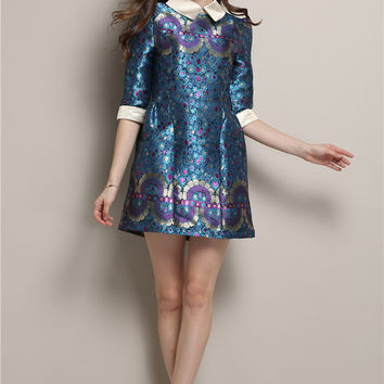 Half Sleeve Printed Pointed Flat Collar Mini A-Line Dress