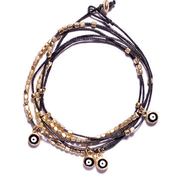 Wrap-around evil eye beads bracelet - Black