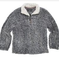 TRUE GRIT FROSTY TIPPED PILE 1/4 ZIP PULLOVER- CHARCOAL