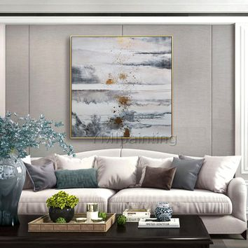 Original Paintings on canvas Modern abstract gold and gray art texture acrylic painting large wall art home decor quadro cuadros abstractos