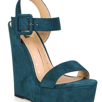 Teal Vegan Suede Open Toe Buckled Ankle Strap Platform Wedge