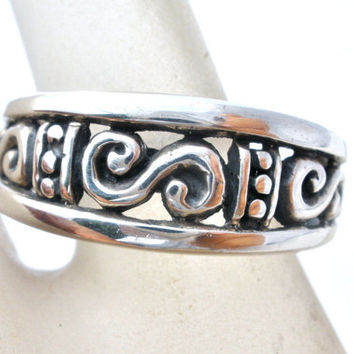 Filigree Ring, Sterling Silver, Unisex Band, Fashion Rings, Size 8 Ring, Fashion Jewelry, Hallmarked 925, Vintage Rings