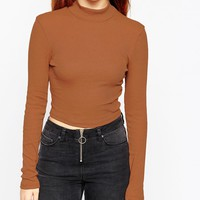 ASOS Turtle Neck Crop Top in Rib