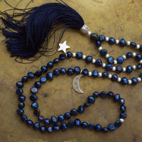 Moon and star necklace Rock n roll jewelry Pagan Wicca Dark navy blue beaded boho necklace Rocker chic Unisex mala Mens Universe Galaxy