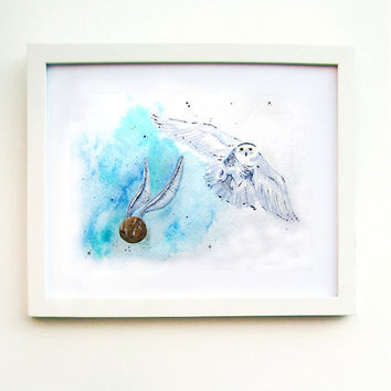 Harry Potter Art Print Hedwig and the Golden Snitch by MayhemHere