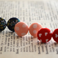 Floral Button Earrings, Button Earrings, Little Hearts, Floral Fabric Earrings, Polka Dots, Birthday Gift, Party Favors