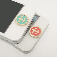 1PC Bling Crystal Fleur De Lis Flower iPhone Home Button Sticker Charm for iPhone 4,4s,4g,5,5c Cell Phone Charm Valentine Gift