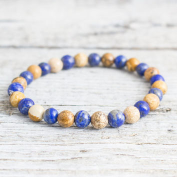 Blue lapis lazuli & brown jasper stone beaded stretchy bracelet, made to order yoga bracelet, mens bracelet, womens bracelet