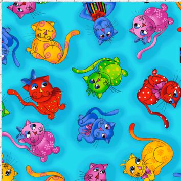 Tossed Cool Cats Turquoise Fabric
